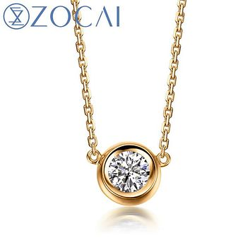 ZOCAI Brand Necklace 18K gold 0.15 ct round cut diamond necklace round shape 18K rose gold / white gold /yellow gold available