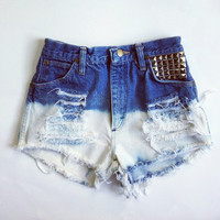 Ombré studded High waisted denim shorts
