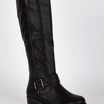 Black Buckle And Zip Detail Long Boots