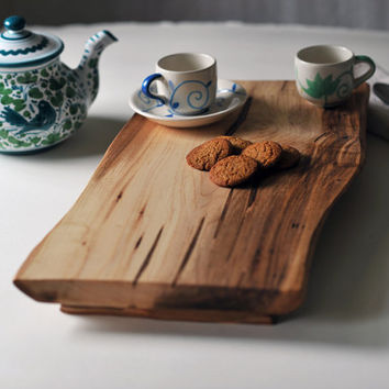 Footed Cutting Board Maple Serving Tray Rustic Cheese Platter Breakfast in Bed Gift for Women