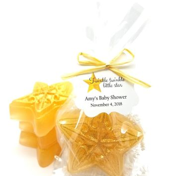 Gold Star Soap Baby Shower Favors with Twinkle Twinkle Little Star Tags