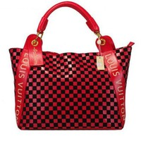 "2018 Hot ""Louis Vuitton"" LV Trending Women Leather Tote Satchel Shoulder Bag Handbag Red I"