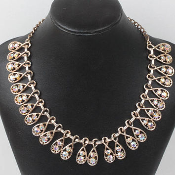 Golden Topaz AB Rhinestone Necklace ART Signed Choker Vintage