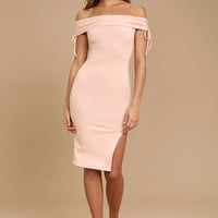 Never Enough Blush Pink Off-the-Shoulder Bodycon Midi Dress