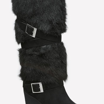 bebe Womens Geenna Faux Fur Boots