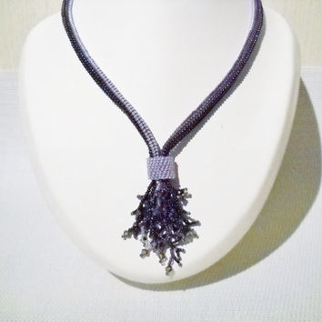 Fringe necklace in purple with Swarovski crystal, herringbone stitch, purple jewelry, beaded necklace, beadwoven jewelry, purple necklace