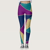 Jewel Tones Abstract Shapes Pattern Leggings