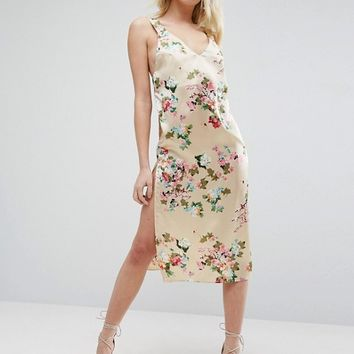 ASOS Satin Floral Print Cami Midi Dress at asos.com