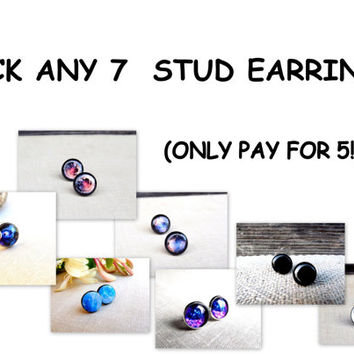 Pick any 7 stud earrings and only pay for 5, Stud earrings, SALE,  Christmas sale, Christmas gift, Stud earrings.