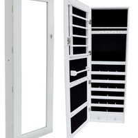 TMS® Glass Mirrored Jewelry Cabinet Armoire Organizer Storage Wall Mount White Case