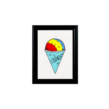 Coloful Snow Cone Sweets Print Framed Wall Hanging