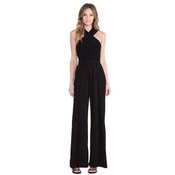 DCCKIX3 Women's apparel sexy overalls wide-legged pants trousers suspenders = 1838458308