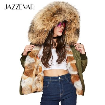 New winter High Fashion street Women's Luxurious Real fox fur liner bomber jacket mini parka Hooded Coat warm Outwear