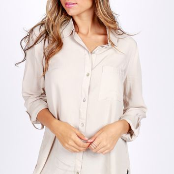 Simple Button Down Blouse Champagne