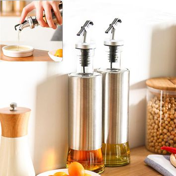1pc 350ML Kitchen Glass Oil Bottle Stainless Steel Leak-proof Soy Sauce Vinegar Cruet Storage Dispenser