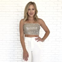 Champagne Sparkle Sequin Top in Gold