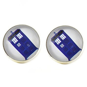Police Box Stud Earrings Silver Tone EL19 British UK Art Dome Posts Fashion Jewelry