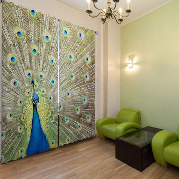 3D Curtains for living room, bedroom, family room Blackout window curtain set drapes Peacock feather tailor made beautiful