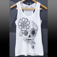 Skull t shirt cute art white sleeveless top/ sugar skull/ gym tank/ flower shirts/ Day of the dead skull/ tank top/ yoga tops size S M L XL