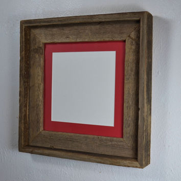 Picture frame 8x8 with red mat for 6x6 or 5x5
