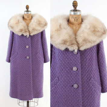 Vintage 60s COAT / 1960s LAVENDER Wool Winter Swing Coat Arctic Fox Fur Collar Trim