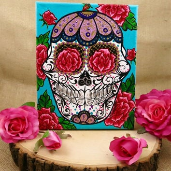 Hand Painted 8x10 Sugar Skull and Vintage Rose Painting