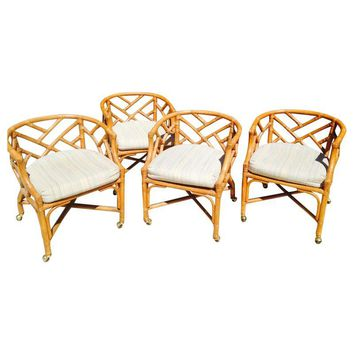 Pre-owned Henry Link Faux Bamboo Chairs - Set of 4