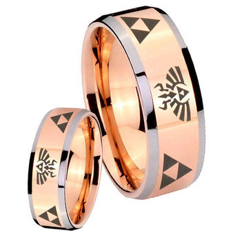 Tungsten Ring Tungsten Triforce & Legend of Zelda Rose Gold IP Silver Edge Wedding Mens Bands Ring ( 5, 8, 10 MM ) Size 4 to 15