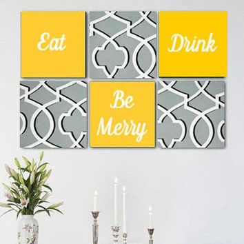 Eat Drink Be Merry Grey White Yellow Wall Art Pack of 6 Canvas Wall Hangings. Dining Room Decor. Kitchen Decor. Dining. Home Decor.