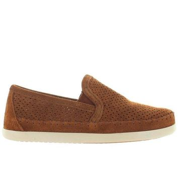 CREYONIG Minnetonka Pacific - Brown Perforated Suede Slip-On Moc Loafer
