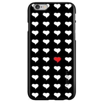DistinctInk® Spigen ThinFit Case for Apple iPhone or Samsung Galaxy - Red White Black Repeating Hearts