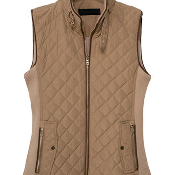 Light Brown Ribbed Cotton-Padded Fall Fashion Vest
