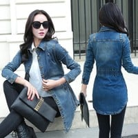 Vintage Women Denim Jacket 2018 Woman Casual Washed Jean Jacket Holes Slim waist  Long Jean Coat Female Outwear w302