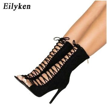 Eilyken High Quality Gladiator Women Pumps Cross-tied Sandal Boot Peep Toe Strappy Lace Up Pumps Shoes Woman Sandals