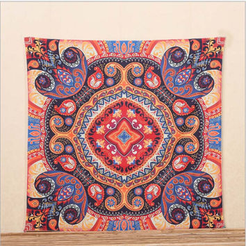 Indian Square Mandala Tapestry Wall Hanging Beach Decor Bohemian Tapestry Decor Wall Throw Rug Blanket 145*145CM