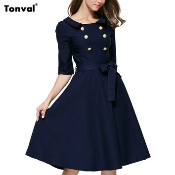 Tonval Women Buttons Vintage Swing Dress Autumn Half Sleeve Rockabilly Elegant Retro 1950s Audrey Hepburn Style Dresses