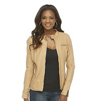 Kardashian Kollection Women's Quilted Synthetic Leather Moto Jacket
