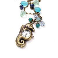 Seahorse Watch Necklace  Beaded Watch Pendant  Seaglass Necklace  Long Necklace Bronze Pocket Watch Handamade