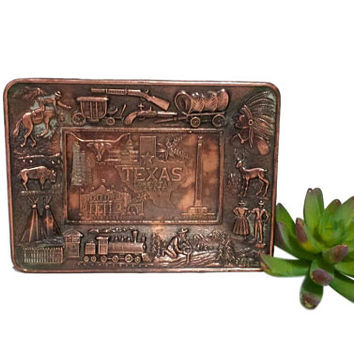 Copper Bronze Texas Tray Vintage Lone Star State Collectible Souvenir Tray Cowboy Native American Longhorn Alamo Wild West Trinket Plate