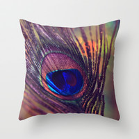 purple peacock feather  Throw Pillow by Sylvia Cook Photography