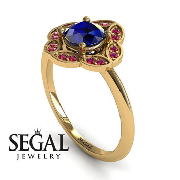 Unique Engagement Ring 14K Yellow Gold Vintage Antique Ring Victorian Ring Sapphire With Ruby - Lucy