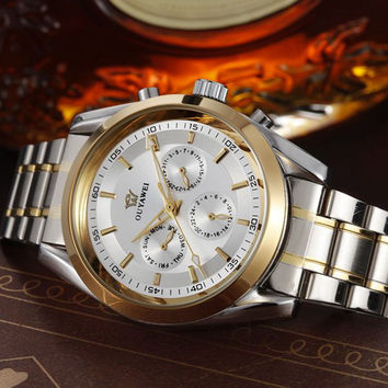 New OYW White GOLD mechanical Men Watches Luxury automatic Men Full steel Band Dress Fashion Gift Wristwatch reloj hombre in box