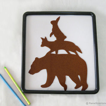 Brown Stacking Animals Nursery Art. Hand Cut Felt Children Room Wall Decor Wall Art. Woodland Bear Fox Rabbit
