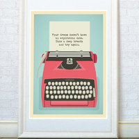 Vintage typewriter art poster, Inspirational quote print, Mid century home decor, Encouraging words, A3 or A4