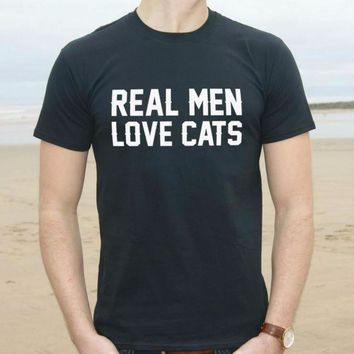 Awesome Black Real Men Love Cats Printed Men T-Shirt Top