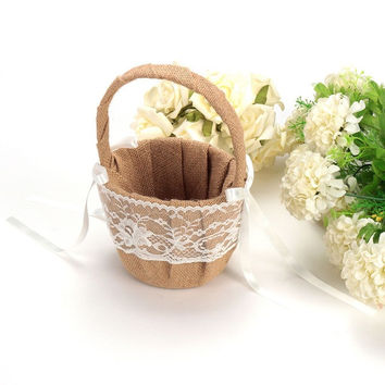 Bridal Party Hessian Burlap Wedding Basket Beautiful Design Vintage Wedding Ceremony And Lace Flower Girl Basket