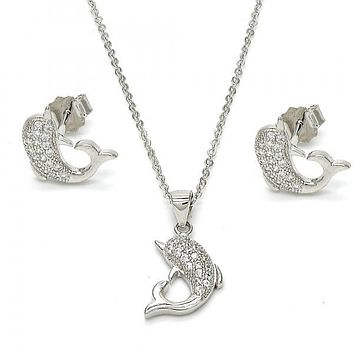 Sterling Silver 10.174.0260 Necklace and Earring, Dolphin Design, with White Micro Pave, Polished Finish, Rhodium Tone