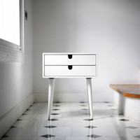 Table / Bedside Table White, Style Mid-Century Modern Retro Scandinavian 1 or 2 drawers