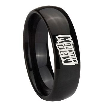 8mm Mountain Dew Dome Black Tungsten Carbide Wedding Engraving Ring
