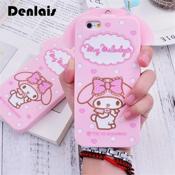 Cute Cartoon 3D Hello Kitty My Melody Bow Neck Strap Soft Silicon Phone Cases For iPhone X 8 7 7Plus 4S 5 5S 6 6S Plus 6Plus